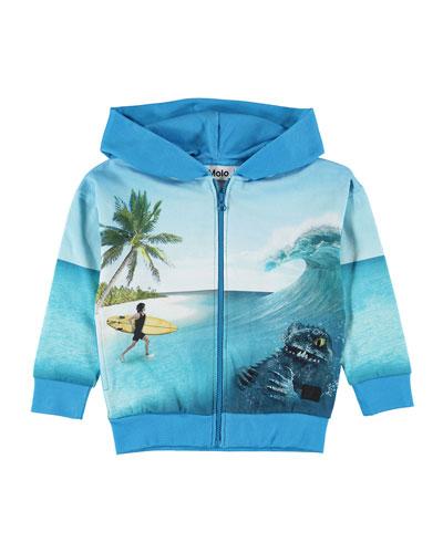 Maurice Surfer & Sea Creature Print Zip-Up Hoodie  Size 4-12