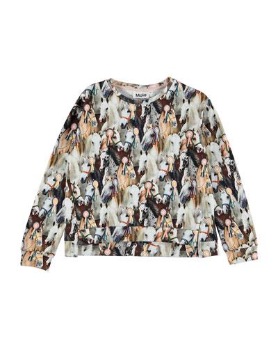 Malissa Show Horse Print Sweatshirt  Size 3-12