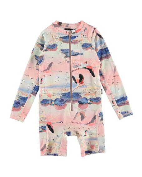 Molo Neka Flamingo Print Long-Sleeve One-Piece Rash Suit, Size 9M-4T