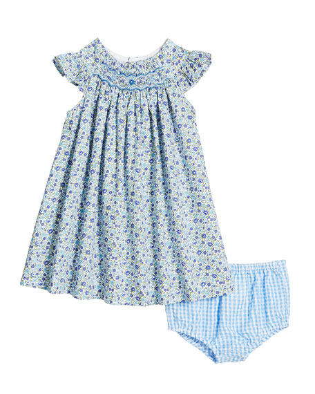 Luli & Me Short-Sleeve Floral Smocked Dress w/ Gingham Bloomers, Size 3-24 Months