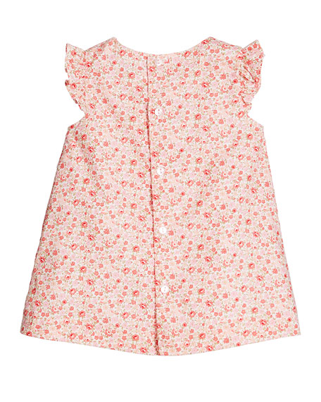 Luli & Me Ruffle-Sleeve Floral-Print Dress w/ Solid Bloomers, Size 3-24 Months