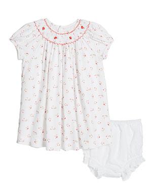 1cf3f987e45 Luli   Me Smocked Floral Dress w  Swiss Dot Bloomers