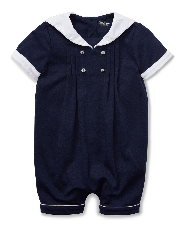 a9876e955b Pintucked Sailor Shortall, Size 3-12 Months