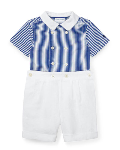 Stripe Short-Sleeve Shirt w/ Pleated Shorts  Size 6-24 Months