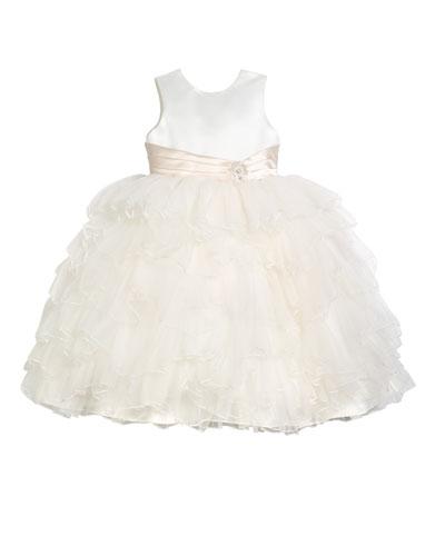 Satin Dress w/ Tulle Ruffle Skirt  Size 2-7