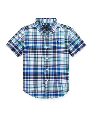 f494c288fbd7 Ralph Lauren Childrenswear Short-Sleeve Collared Plaid Shirt, Size 5-7