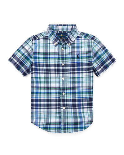 Short-Sleeve Collared Plaid Shirt  Size 5-7