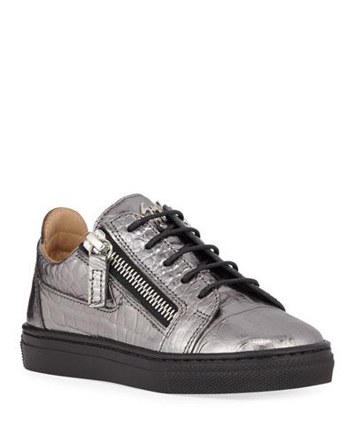 London Metallic Embossed Leather Low-Top Sneakers  Baby/Toddler