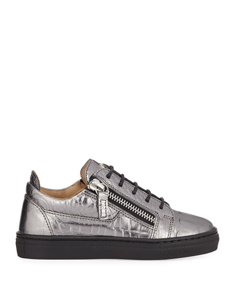 Giuseppe Zanotti London Metallic Embossed Leather Low-Top Sneakers, Toddler/Kids