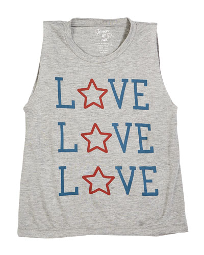 Heathered Love & Star Tank Top  Size S-XL