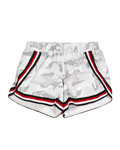 Camo Metallic Star-Print Shorts w/ Striped Taping  Size S-XL