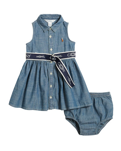 Girls' Chambray Shirtdress & Bloomers Set, Size 6M-2