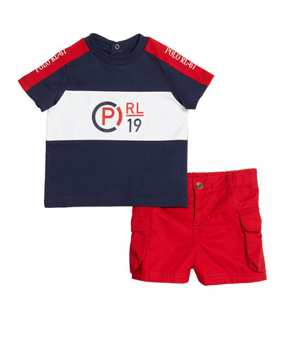 Boys' T-Shirt Shirt and Cargo Short Set, Size 6M-2