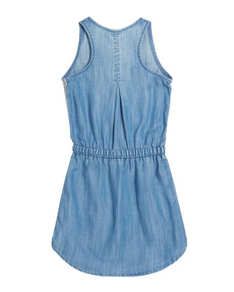 Bella Dahl Sporty Tank Sleeveless Denim Dress w/ Striped Trim, Size 8-14