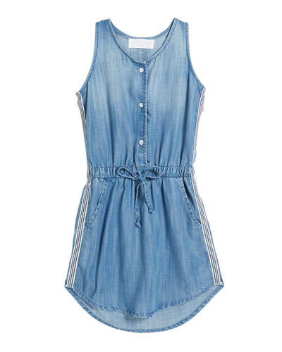 Sporty Tank Sleeveless Denim Dress w/ Striped Trim  Size 8-14