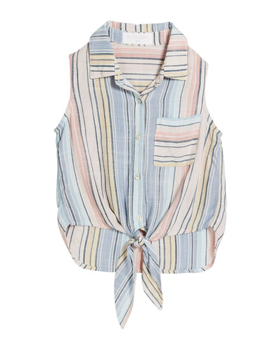 Multi-Stripe Tie-Front Top  Size 8-14