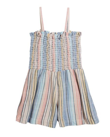 Bella Dahl Multi-Stripe Sleeveless Smocked Romper, Size 8-14