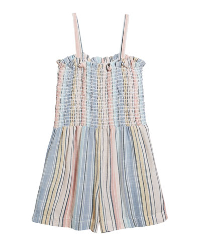 Multi-Stripe Sleeveless Smocked Romper  Size 8-14