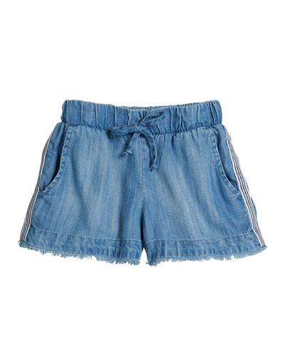 Raw Edge Denim Shorts w/ Striped Trim  Size 8-14