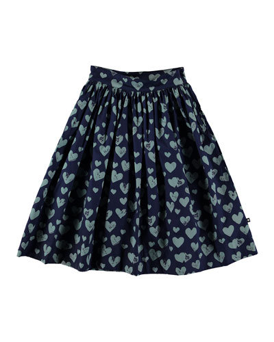 Brittany Heart Print Woven Midi Skirt  Size 5-16