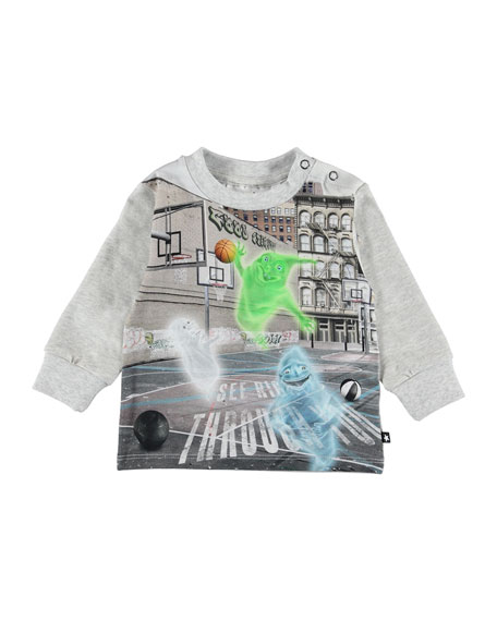 Molo Eloy Ghosts Playing Basketball Graphic Tee, Size 6-24 Months