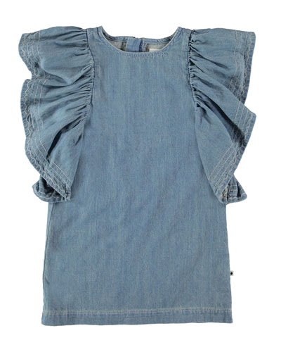 Candis Ruffle-Trim Denim Dress  Size 3T-16