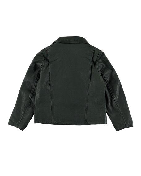 Molo Holtti Leather Jacket w/ Zip Off Scuba Hood, Size 4-12