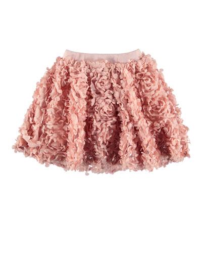 Brickly 3D Floral Applique A-Line Skirt  Size 3T-12