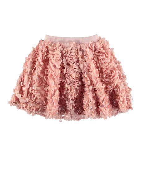 Molo Brickly 3D Floral Applique A-Line Skirt, Size 3T-12