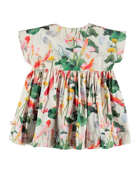 Molo Channi Short-Sleeve Woven Koi Fish Print Dress, Size 6-24 Months