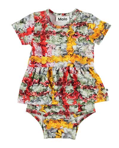 Frannie Floral Print Skirted Bodysuit  Size 3-18 Months