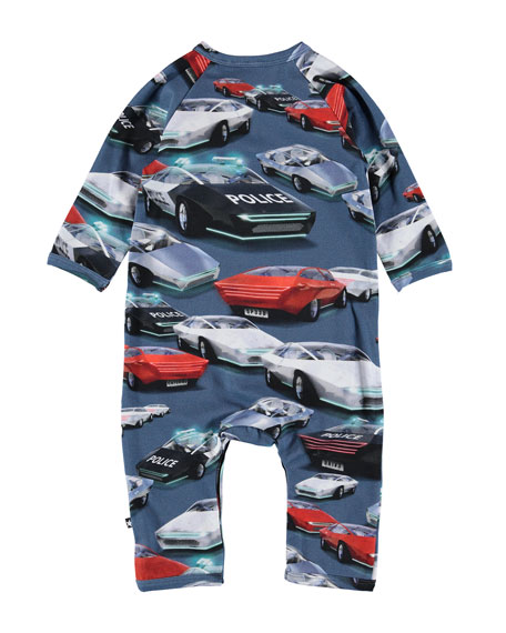 Molo Fleming Allover Cars Print Coverall, Size Newborn-12 Months