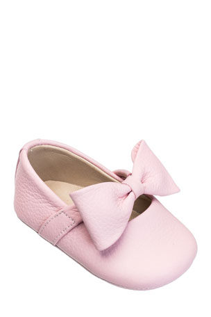 Elephantito Leather Ballet Flat w/ Bow, Baby