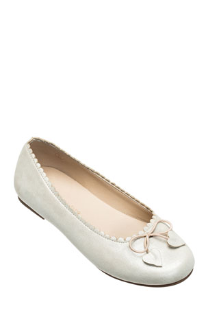 Elephantito Scalloped Leather Ballet Flats, Toddler/Kids
