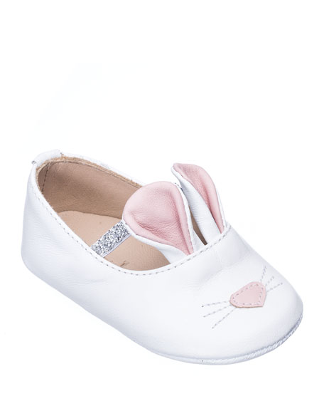 Elephantito Girls' Leather Bunny Sleeper Ballet Flat, Infant/Toddler