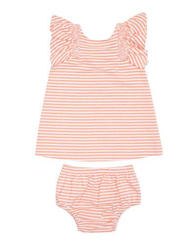 Aelicia Stripe Ruffle Dress w/ Matching Bloomers  Size 12-24 Months