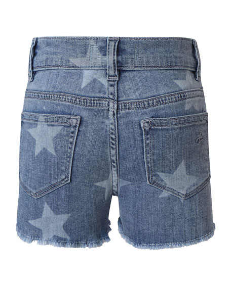 DL1961 Premium Denim Girls' Lucy Lucy Star-Print Denim Shorts, Size 2-6