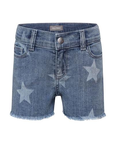 Girls' Lucy Lucy Star-Print Denim Shorts  Size 2-6