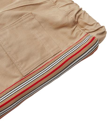 Burberry Curran Drawstring Chino Pants w/ Icon Stripe Sides, Size 6M-2