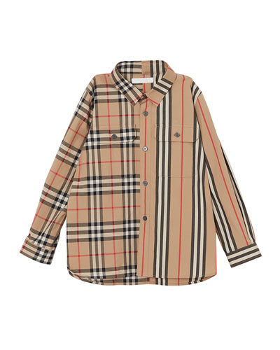 Amir Icon Stripe & Check Button-Down Shirt  Size 3-14