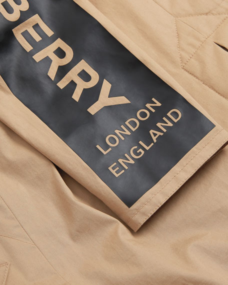 Burberry Daxton Logo Sleeve Trench Coat, Size 3-14