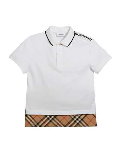 Hammond Short-Sleeve Check-Trim Polo Shirt  Size 3-14