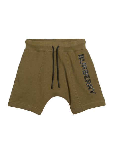 Burberry Derick Fleece Embossed Logo Shorts, Size 3-14