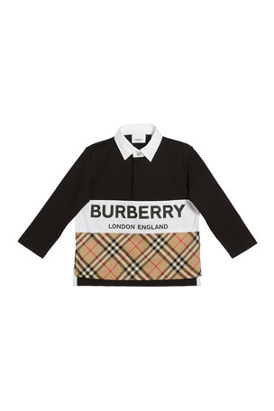 Burberry Quentin Long-Sleeve Rugby Polo w/ Check & Logo Panels, Size 3-14