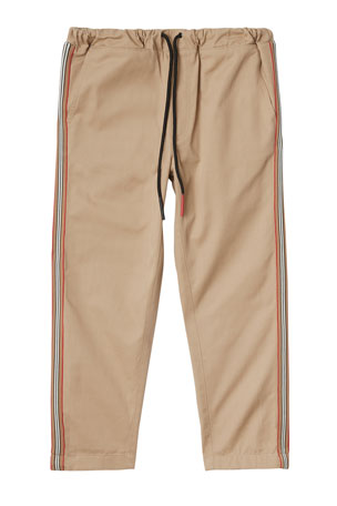 Burberry Curran Drawstring Chino Pants w/ Icon Stripe Sides, Size 3-14