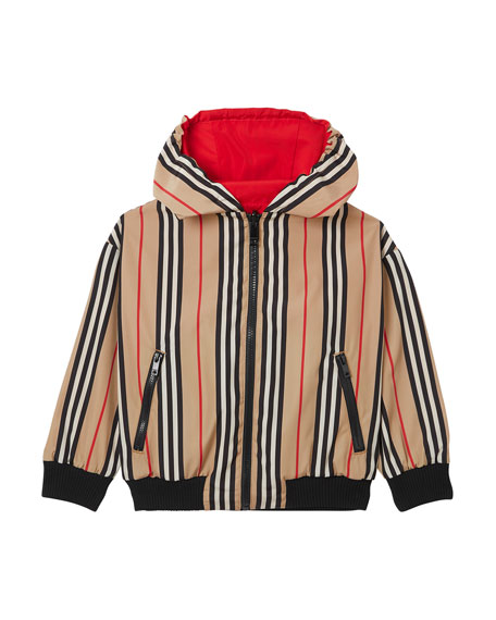 Burberry Tommy Icon Stripe Reversible Hooded Jacket, Size 4-8