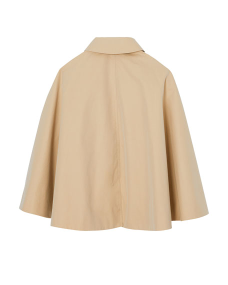 Burberry Leanne Trench Coat-Style Cape, Size M-L