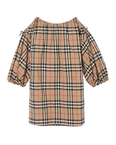 Alenka Archive Check Long-Sleeve Dress  Size 3-14