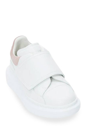 Alexander McQueen Oversized Grip-Strap Leather Sneakers, Toddler/Kids