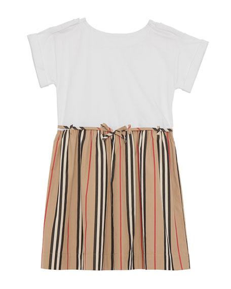 Burberry Rhonda Jersey & Icon Stripe Poplin Dress, Size 3-14